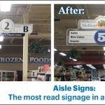 Before and after of the new and old aisle signs for Mother Earths Storehouse in Kingston New York